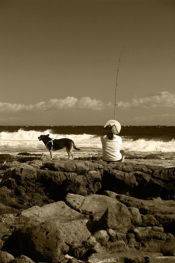 Woman and her dog  by Michael Guerrero - People Portraits of Women