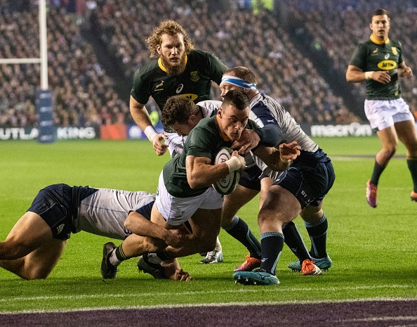 South Africa's Jesse Kriel, dives over the line to score the Springboks first try during the International Friendly match between Scotland and South Africa on November 17, 2018 in Edinburgh, United Kingdom.