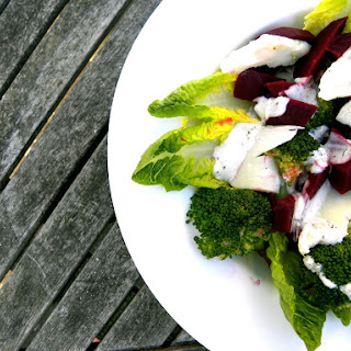 Beetroot Salad With Halloumi, Broccoli And A Lime And Yoghurt Dressing