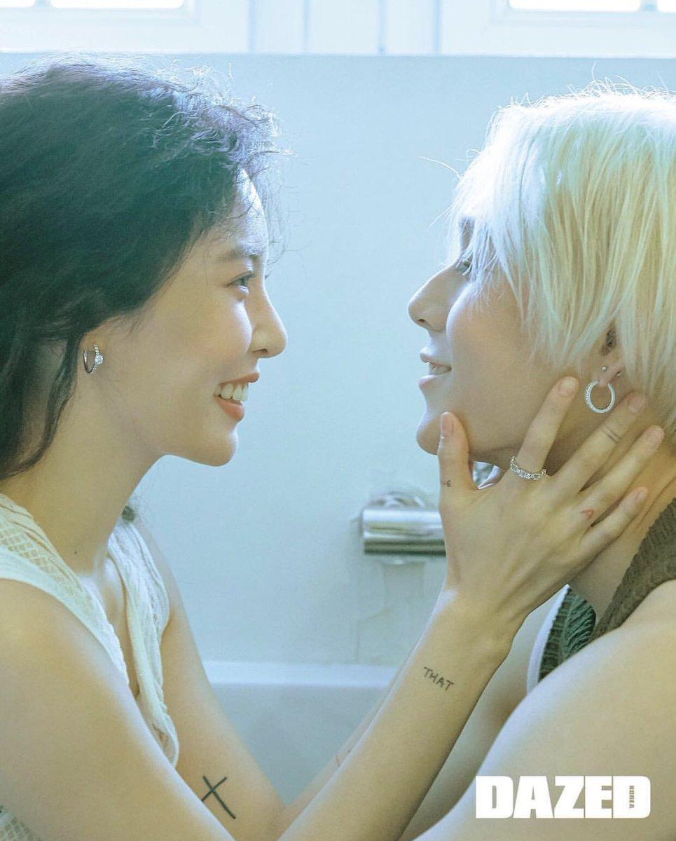 Hyuna dan E'Dawn memang selalu romantis ya Teens, siapa nih yang suka dengan pasangan satu ini? (dok. Dazed)