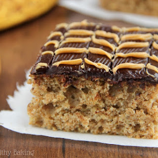 Banana Cake with Fudgy Chocolate Peanut Butter Swirl Frosting.
