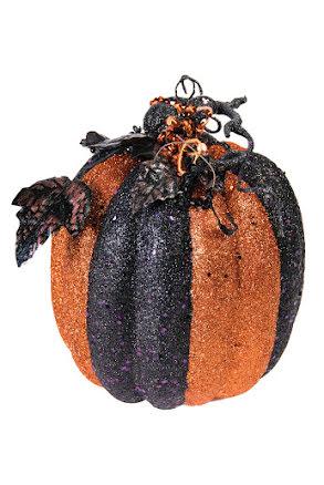 Glitterpumpa, svart/orange