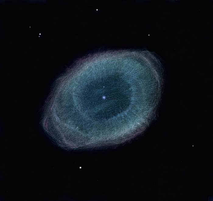 Photo: M57, la nébuleuse de la Lyre, vue dans le T1m de Stellarzac le 19/08/2012. Grossissement 800X, seeing excellent.
