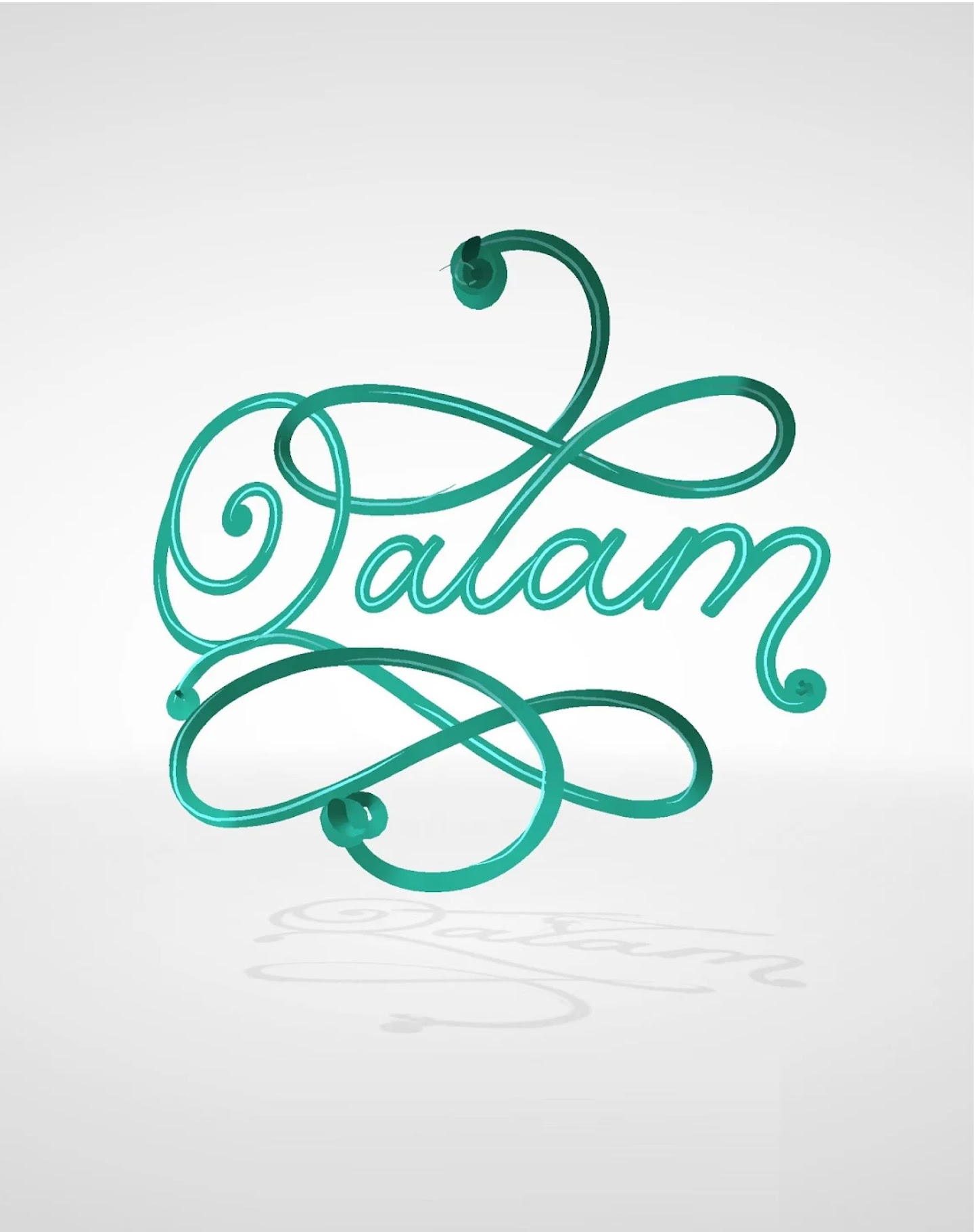 Calligraphy style green Qalam logo created using a Google Tilt Brush