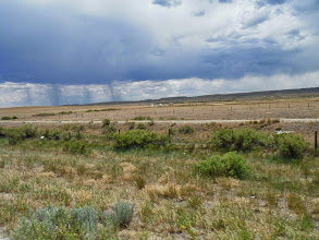 Photo: Day 20 Riverton to Casper WY 120 miles, 2500' climbing: Showers crossing our path in the distance