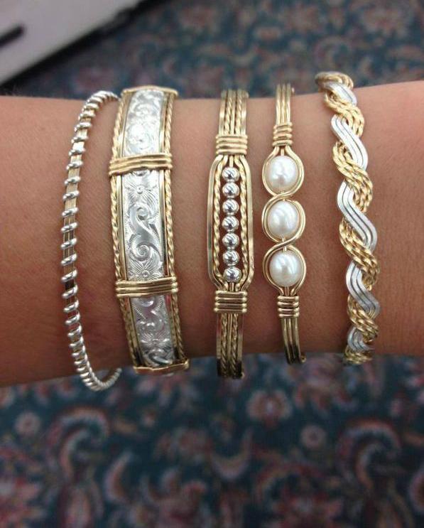 Золотые и серебряные браслеты с жемчугом