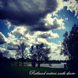 Rutland waters south shore United kingdom  by Jude Rosario - Typography Captioned Photos ( clouds, water, uk, sky, park, sea, beach )