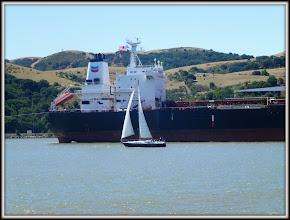 Photo: Chevron tanker and sailboat, Carquinez Strait, near Vallejo CA