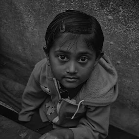 HER CALM EYES by Sourav Makal - Black & White Portraits & People ( black and white, portrait, girl, eyes, people, child, everyday,  )