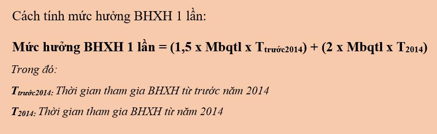 Công thức tính BHXH một lần.