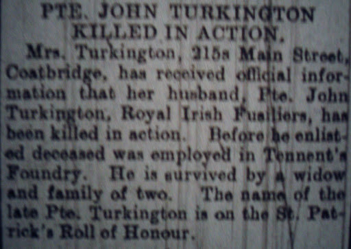 John Turkington newspaper clipping