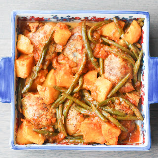 Chicken Thighs with Green Beans and Potatoes in a Tomato Sauce.