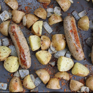 One-Pan Roasted Sausage, Potatoes, and Onions.