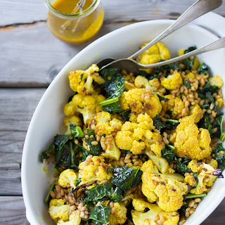 Roasted Cauliflower with Farro, Kale and Turmeric Dressing
