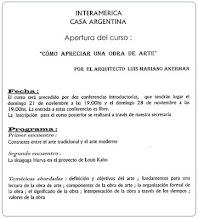 Photo: Invitación a conferencias y curso de arte, Interamérica y Casa Argentina, noviembre de 1999 http://hola-akermariano.blogspot.com/2011/08/casa-argentina.html ; http://akermariano.blogspot.com/2012/03/casa-argentina.html