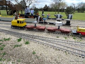 Photo: Craig Thomasson's critter and two flat cars, all narrow gauge.     HALS Chili Fest Meet 2014-0301 RPW
