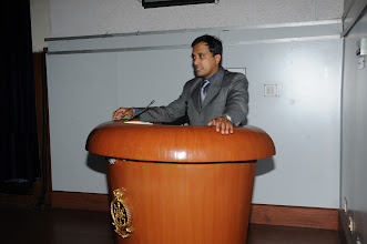 "Photo: Mr. Narendra Sahoo speaking on ""Cyber Warfare"""