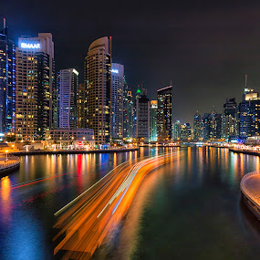 Dubai Marina by Ricky Pagador - City,  Street & Park  Skylines ( cityscapes, street, skylines, nightscape )