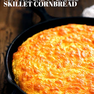 Pumpkin Cream Cheese Skillet Cornbread.