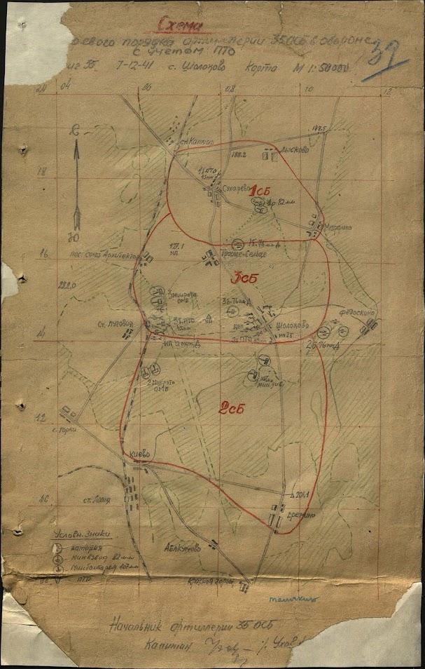 Схема боевого порядка артиллерии 35 осбр в обороне с учетом ПТО 7.12.41
