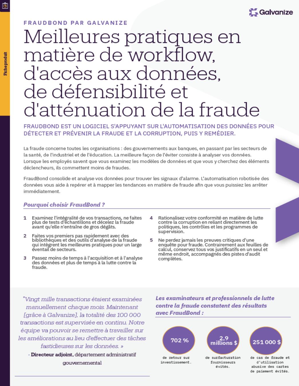 Meilleures pratiques en matière de workflow, d'accès aux données, de défensibilité et d'atténuation de la fraude