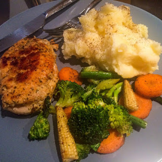 Pan Grilled Garlic Chicken Steak with Mashed Potatoes & Assorted Vegetables