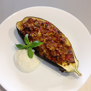 Baked Eggplant Stuffed with Vegetables and Feta.