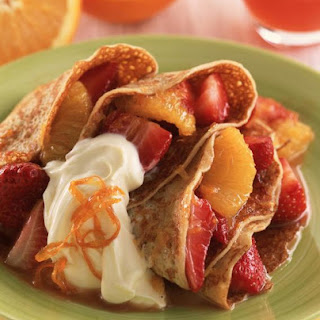 Orange and Strawberry Pancakes
