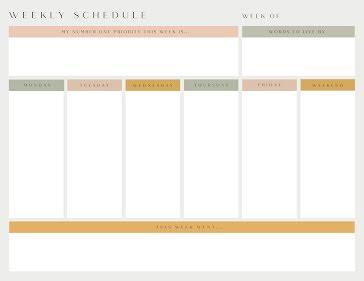 Weekly Schedule & Priorities - Weekly Planner Template