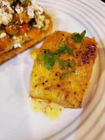 Turmeric Lemon Butter Basted Cod