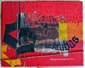 Photo: Une vieille toile réutilisée. Acrylique, pinceau en mousse, gouache pour gothique textura enchevêtrée ou déformée. Corde. -- It's an old canvas reused. Acrylic, foam brush, gouache Gothic textura tangled or twisted.