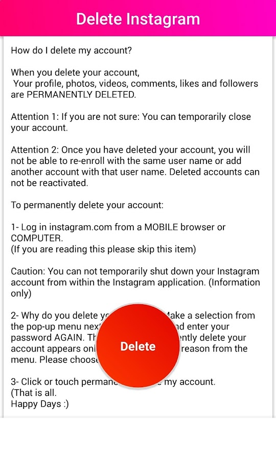 Delete guide for instagram deactivate android apps on google play delete guide for instagram deactivate screenshot ccuart Gallery
