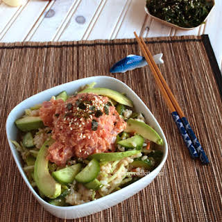 Spicy Tuna With Cucumber Salad.