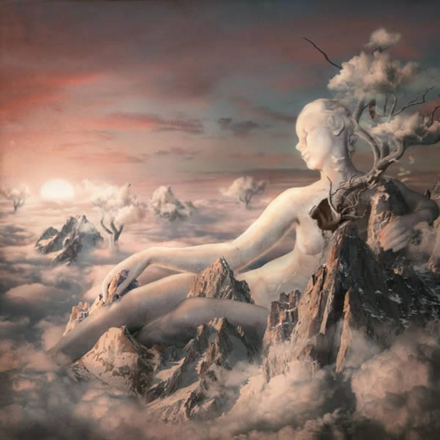 Angel in The Sky by Stefan Bechir - Illustration Sci Fi & Fantasy ( fantasy, clouds, sky, illustration, art, rock, people, women, design )