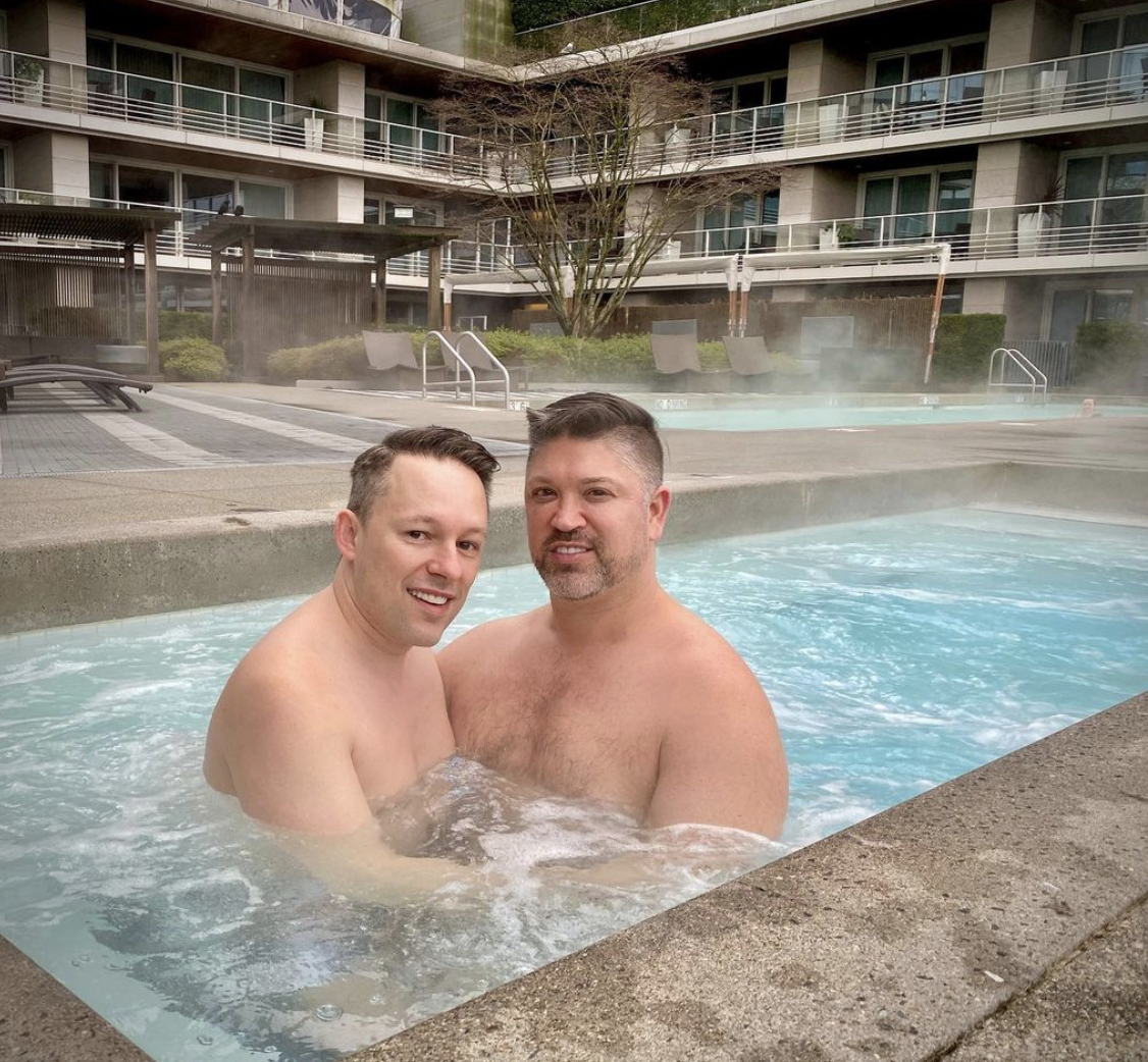 Josh Rimer   In hot water jacuzzi with partner   Gay Influencers Featured on Afluencer