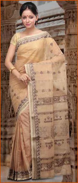 Photo: Beige Cotton Bengal Handloom Tant Saree With Blouse  Item Code: SZC4947  Price: US$ 54.51  Shop Now @ http://www.utsavfashion.com/store/sarees-large.aspx?icode=szc4947