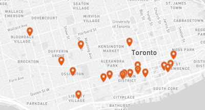 Oyster map Toronto
