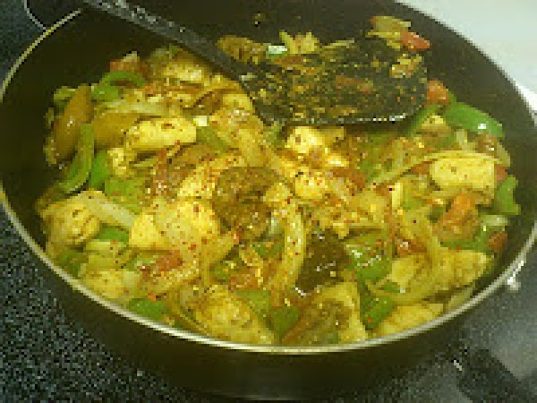 Add the pickle, throw in some crushed pepper and mix well