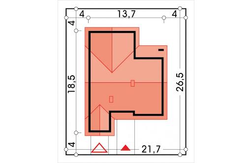 Ambrozja 2 wersja B z poddaszem do adaptacji z pojedynczym garażem - Sytuacja