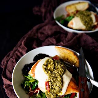 Skillet Mozzarella Chicken with Pesto.