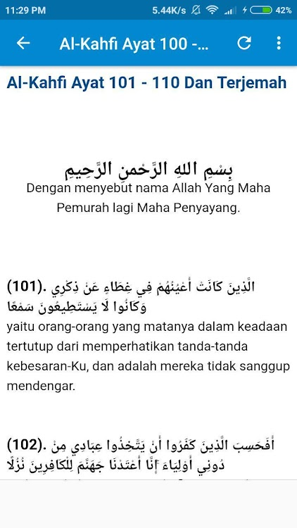 Al Kahfi Ayat 100 110 Android Aplikace Appagg