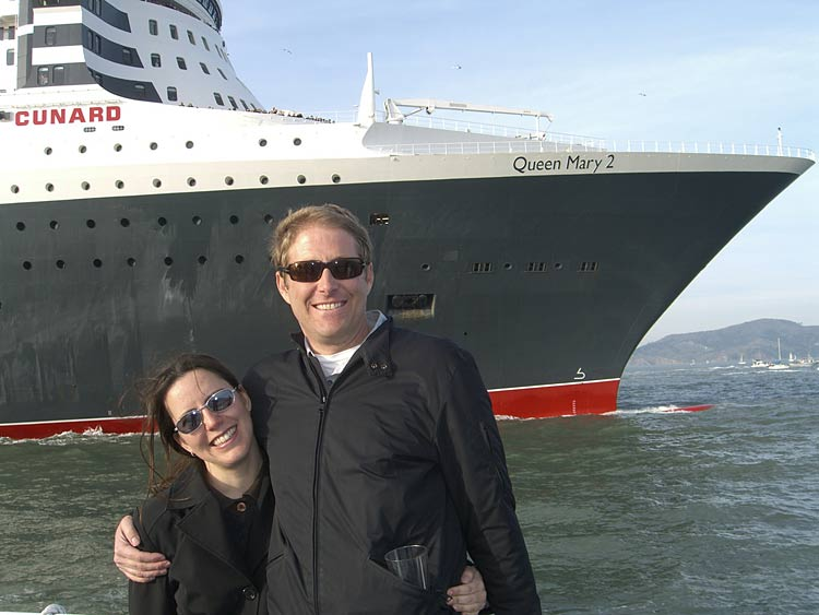 Posing in front of Cunard's Queen Mary 2 in San Francisco.