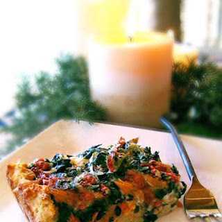 Gluten-Free Smoked Salmon and Spinach Goat Cheese Strata.