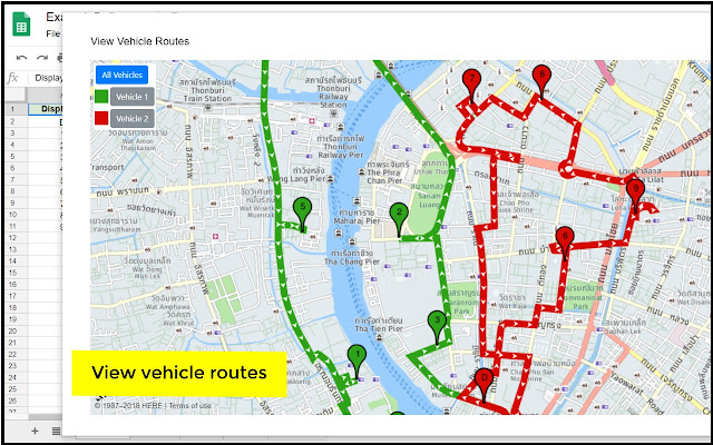 Vehicle Routing: Complemento del Editor de hojas de cálculo ... on google maps russia, apple map route, world map route, united states map route, iphone map route, google car route, google points of interest, google plan route,