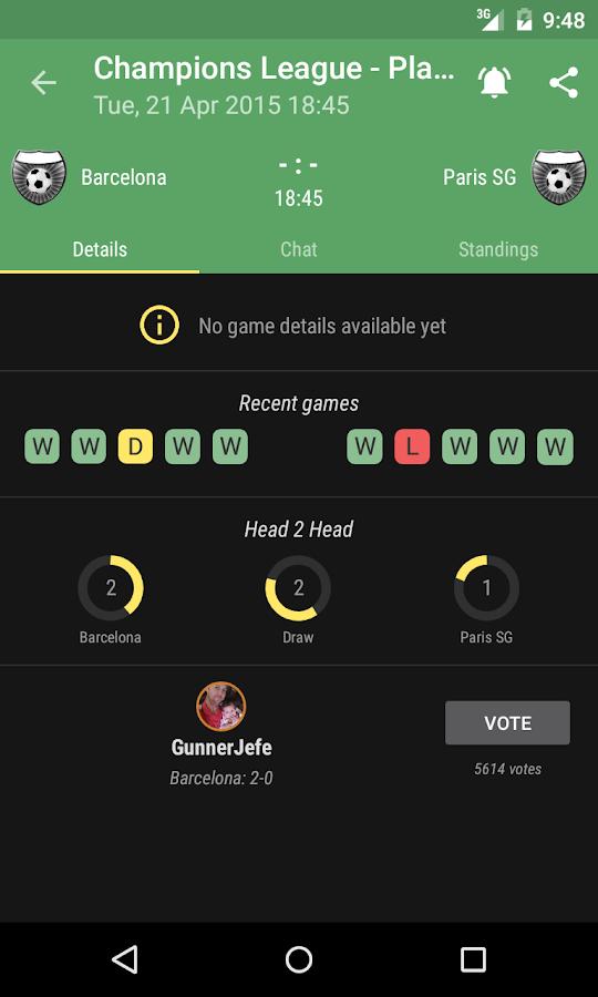 The Livescore App - screenshot