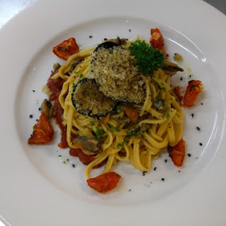 Fettuccine with White Wine Mussel Sauce.