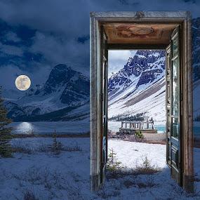 Doorway to Paradise by Katherine Rynor - Digital Art Places ( mountains, moon, doorway, snow, night time, bridge )