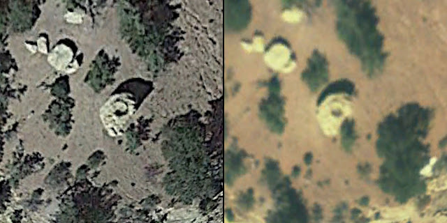 Satellite imagery showing a possible stone circle atop a boulder
