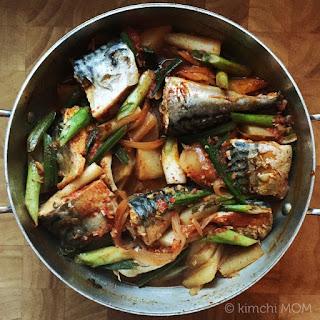 Korean Spicy Braised Mackerel #SundaySupper.