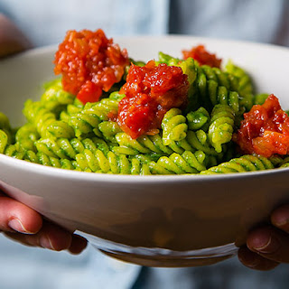 Fusilli with Pesto and Peperonata